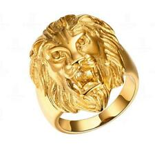 Gold Fashion Jewelry Men's Stainless Steel Lion Head Wedding Band Ring Size 8-12