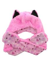 Wolf With Pastel Hearts Lining Pink Faux Fur Animal Hat With Paws