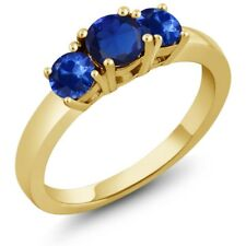 1.32 Ct Round Blue Simulated Sapphire Blue Sapphire 18K Yellow Gold Ring