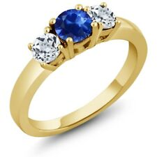 1.26 Ct Round Blue Sapphire White Topaz 18K Yellow Gold Plated Silver Ring
