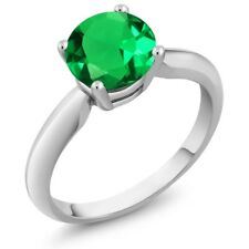 1.22 Ct Round Green Simulated Emerald 18K White Gold Ring