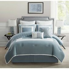 NEW Twin Full Queen King Bed Blue White Quilted 9 pc Comforter Set Elegant NWT
