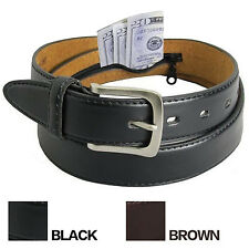 MENS LEATHER MONEY BELT NEW Travel Belt w/ Hidden Zipper Compartment Bills
