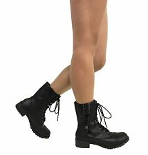 FOOTER! Women's Military Rounded Toe Lug Sole Lace Up Mid-Calf Combat Boot
