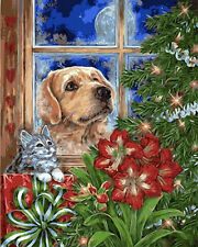 Dog & Cat Watching CHristmas Tree Needlepoint Canvas  H39
