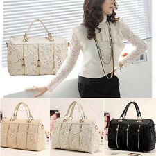 Fashion Vintage Women PU Leather Messenger Bag Tote Shoulder Bag Lace Handbag HP