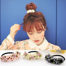 Womens Pearls Hair Band Elastic Flower Bead Rope Elegant Ponytail Holder