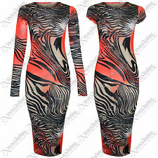 NEW WOMENS RED ZEBRA MIDI DRESS STRIPE PRINT BODYCON KNEE LENGTH LADIES LOOK