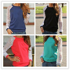 Ladies Loose Long Sleeve Top Women New Round Neck Lace Stitching Hoody