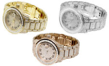 Iced Out Rose White Yellow Gold Plated 45MM Roman Number Simulated Diamond Watch