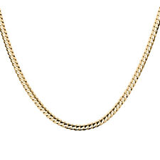 3.5mm 14K Yellow Gold Chain Concaved Light Curb Chain Necklace / Gift box