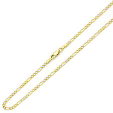 Men 3mm 14K Yellow Gold Chain Figaro Chain Necklace / Gift box / Ship from USA