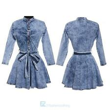 Womens Long Sleeve Bodycon Denim Club Party Mini Dress Belted Plus Size