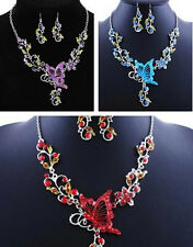 Necklace Earrings Butterfly Flower Pendant Jewelry Set Rhinestone Splendid