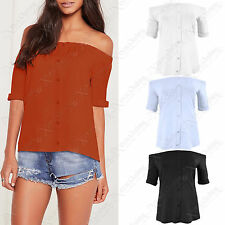 LADIES BARDOT BUTTON FRONT TOP SHORT SLEEVE WOMENS OFF SHOULDER LOOK TOPS BLOUSE