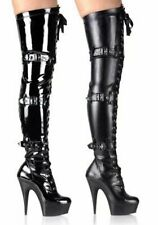 Women's 5 3/4 Spike Heel Platform Lace-Up Stretch Thigh Boot With Triple Buckle