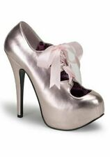 Bordello TEEZE-09, 5 3/4 Inch Heel Concealed Platform Pump With Ribbon Lacing