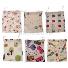 Portable Cartoon Linen Drawstring Storage Bag Laundry Organizer Pouch Size S M L