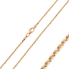 Pure 1.5mm 925 Sterling Silver Chain Necklace / Rose Gold Plated made in italy