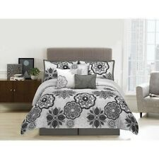 NEW Queen King Bed Black Gray Grey Large Floral 7 pc Comforter Set Elegant NWT