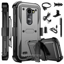 REFINED ARMOR COVER PHONE CASE & SWIVEL HOLSTER FOR LG LEON C40 / Risio  +BUNDLE