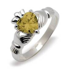 Irish Claddagh Silver  Birthstone Ring -  November - Topaz - Genuine Irish made