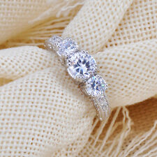 Size 6-9 White Sapphire Silver Wedding Band Rings 10KT White Gold Filled Jewelry