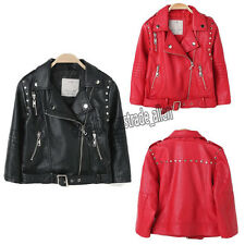 Kids Children Boys Girls Punk Studs Leather Motorcycle Jacket Biker Coat