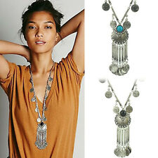New Selling Vintage Coin Long Pendant Necklace Chain Gypsy Tribal Ethnic Jewelry