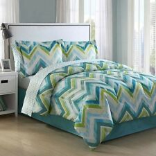 NEW Twin Full Queen King Bed Blue Lime Green Chevron 8 pc Comforter Sheets Set