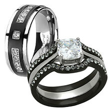 HIS HERS 4 PC BLACK TITANIUM & STAINLESS STEEL WEDDING ENGAGEMENT RING BAND SET