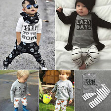 Baby Toddler Boys Girls Outfit Newborn Infant T-shirt Top+Pants 2pcs Set Outfit