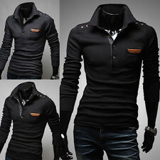 New Mens Slim Fit Long Sleeve Stylish T-shirt Casual Polo Shirt Tee Tops