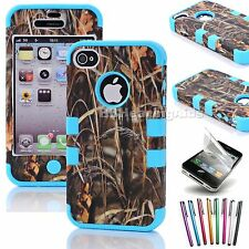 Shockproof Armor PC Rubber Hard Hybrid Combo Case Cover For Apple iPhone 4S 4 4G