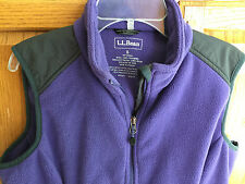 L.L. BEAN women S purple polyester fleece vest coat fall jacket POLARTEC WINDPRO