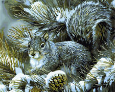 Squirrel On Pin Branch Needlepoint Canvas H134