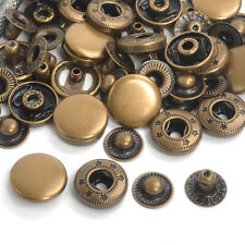 Pack 15/30/50/100 Antique Brass 10/12.5/15/17mm Press Stud Snap Fasteners Button