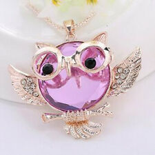 Round shape Rhinestone Pendant Owl  necklace Statement Chain Hot 2016 Vintage