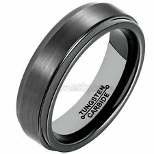 6mm Tungsten Carbide Wedding Band Ring Brushed Black Mens Jewelry Size 7-13