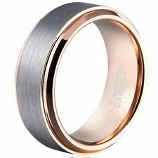 8mm Mens Tungsten Carbide Ring Wedding Band Rose Gold Tone Brushed Center 7-13