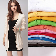 Ladies Womens Crochet Knitted Button Cardigan Shirt Blouse Tops Sweater Coat