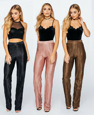 New Pleated High Waisted Wide Leg Palazzo Pants Crepe Metallic Crinkle Trousers