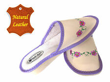 Women's Slippers SCUFF Natural LEATHER creme purple SIZE US WOMAN 7 - 10 NEW