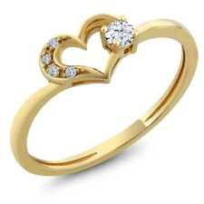 0.05 Ct Round Hearts And Arrows White Created Sapphire 10K Yellow Gold Ring