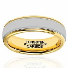 6mm Men's Tungsten Carbide Ring Dome Comfort Fit Wedding Band Gold Tone Edge