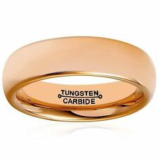 Men's 6mm Rose Gold Tone Polish Comfort Fit Wedding Band Domed Tungsten Ring