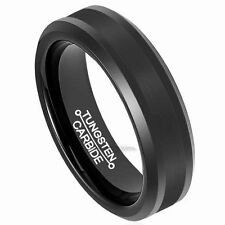 6mm Brushed Black Tungsten Ring Men's Comfort Fit Polish Edge Wedding Band