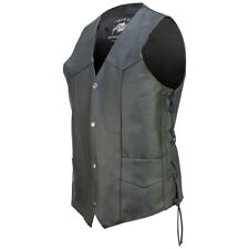 Concealed Carry Classic Motorcycle Biker Leather Vest Black