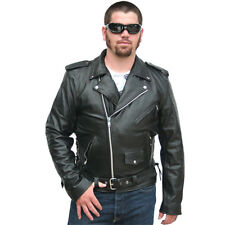 Classic Biker Leather Motorcycle Black Jacket Zipout Liner