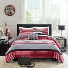 NEW Twin XL Full Queen Bed Bag Red Black White Stripe 5 pc Comforter Set Dorm